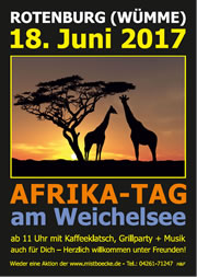 AFRIKA-TAG am Weichelsee - Kaffeklatsch - Grillparty - Musik - am 18.06.2017 - ab 11.00 Uhr