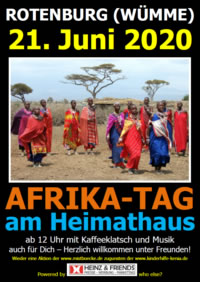 AFRIKA-TAG am Heimathaus - Kaffeklatsch - Grillparty - Musik - am 21.06.2020 - ab 12.00 Uhr